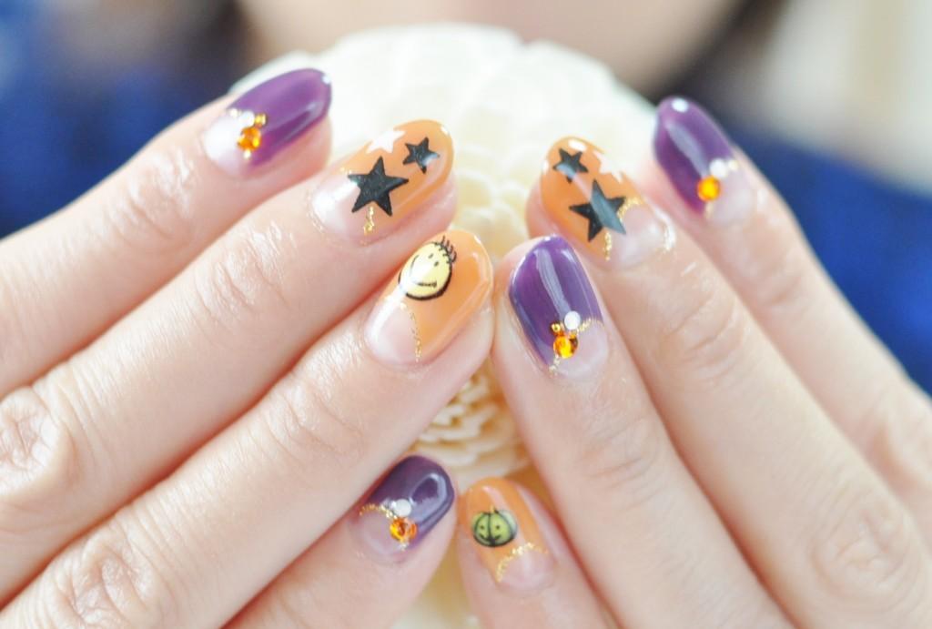 ハロウィン,ネイル,ポップ,可愛い,紫,パープル,オレンジ,スター,星