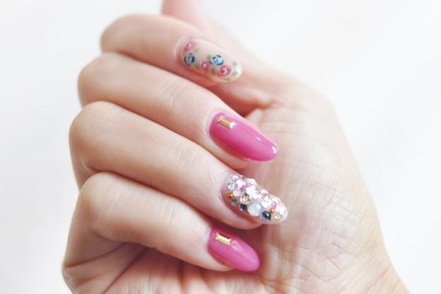 秋冬,ロングネイル,ピンク,可愛い,ジェルネイル,宝石箱,手描き,ばら,薔薇
