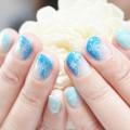 ブルー,青,雪の結晶,ネイル,斜めフレンチ