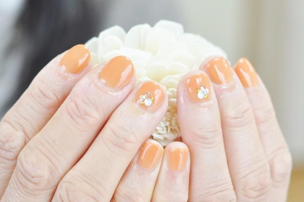 オレンジ,秋冬,ネイル,明るいカラー,元気