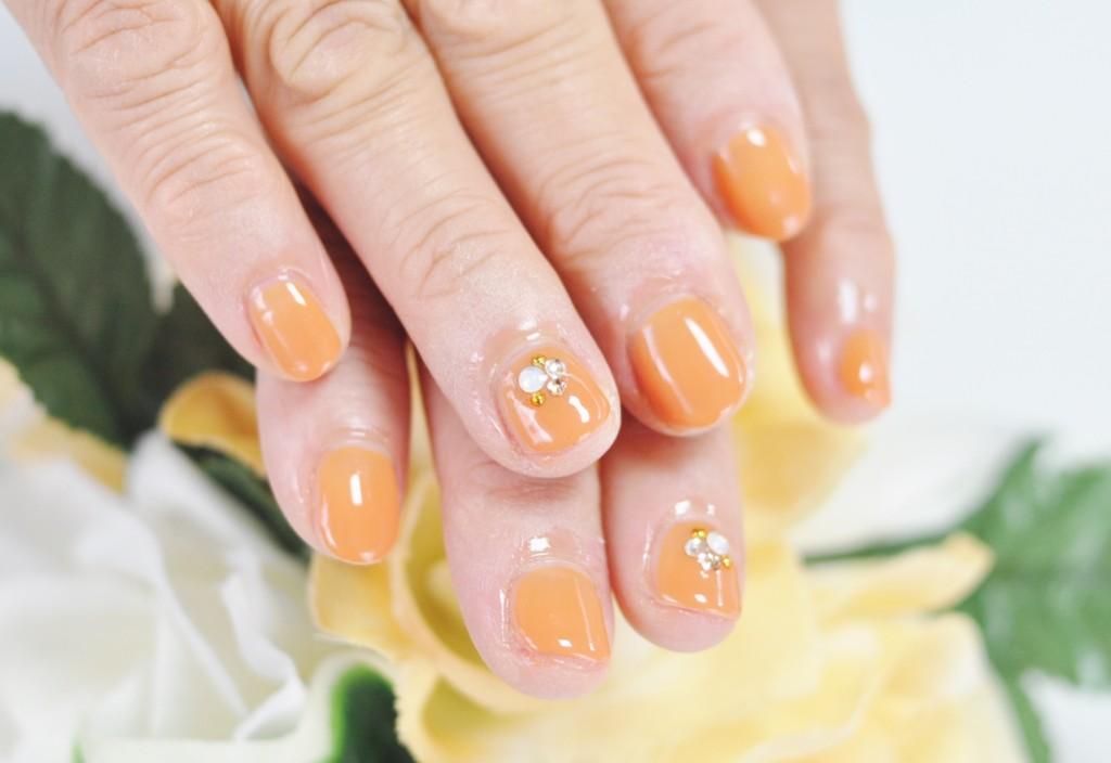 オレンジ,可愛い,明るい色,ジェルネイル