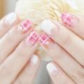 秋冬,チェック柄,可愛い,ピンク,白,逆フレンチネイル