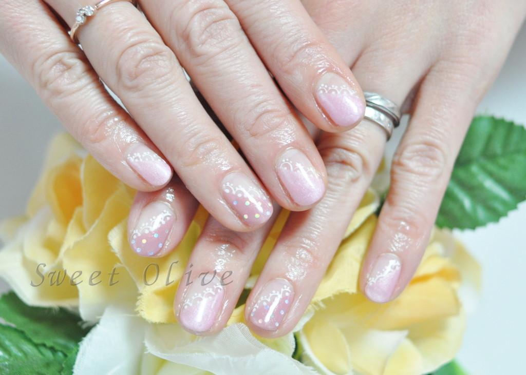 ローズピンク,濃淡ピンク,2色ネイル,斜めフレンチ,ドット,水玉,レース柄ネイル