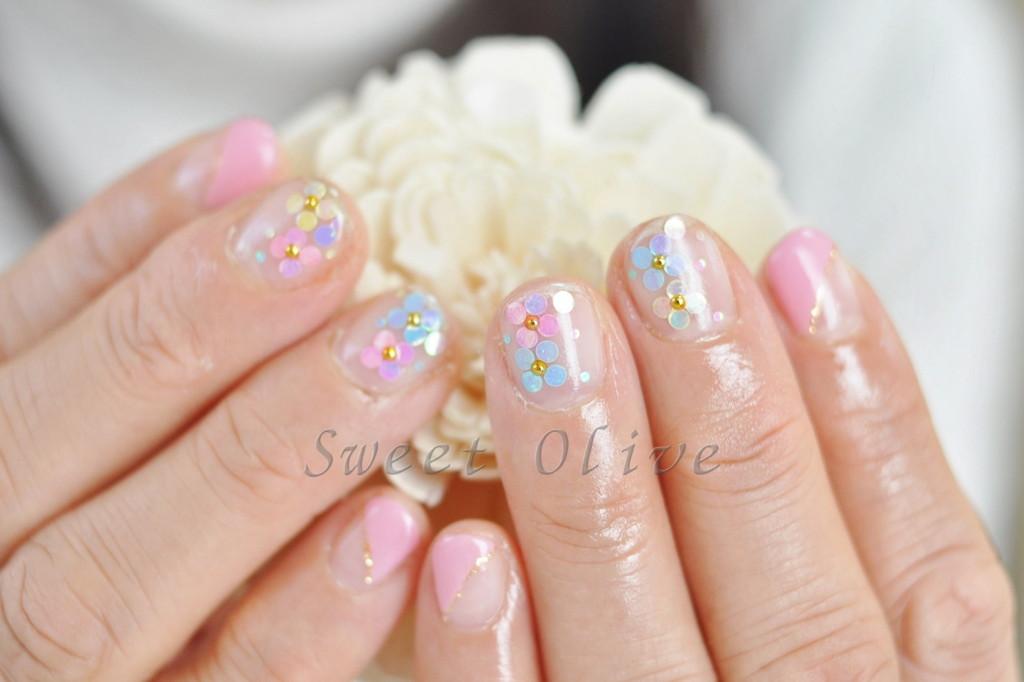 ホロ花,2014年,春ネイル,花柄,可愛い,ピンク
