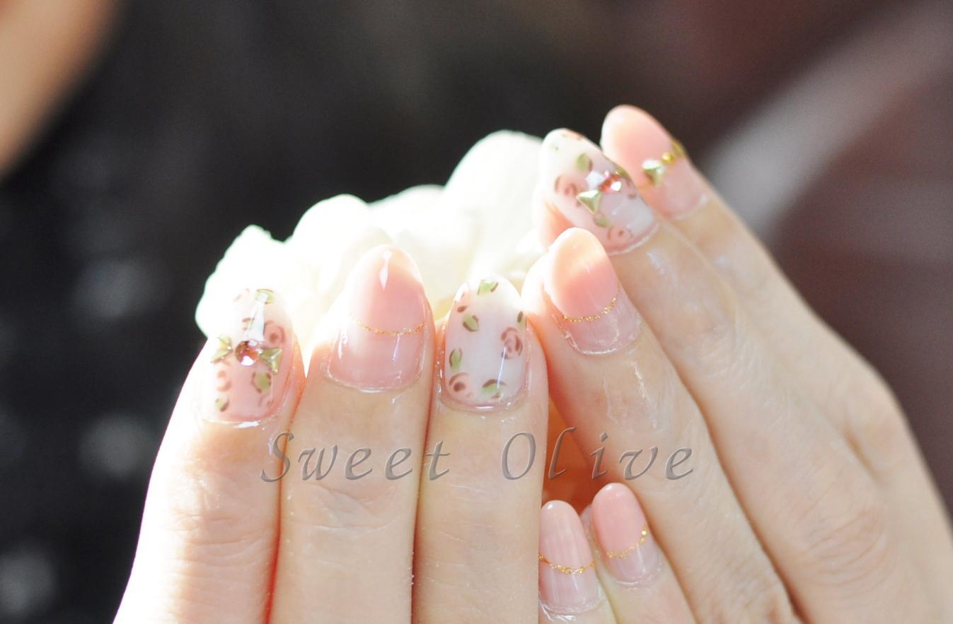 バラ柄,春,スプリング,小花柄,可愛い,丸フレンチネイル
