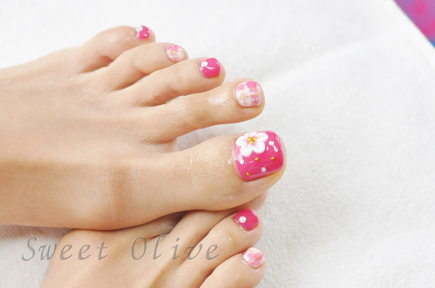 3Dフラワー,ピンク,花柄,チェック柄,可愛い,フットジェルネイル