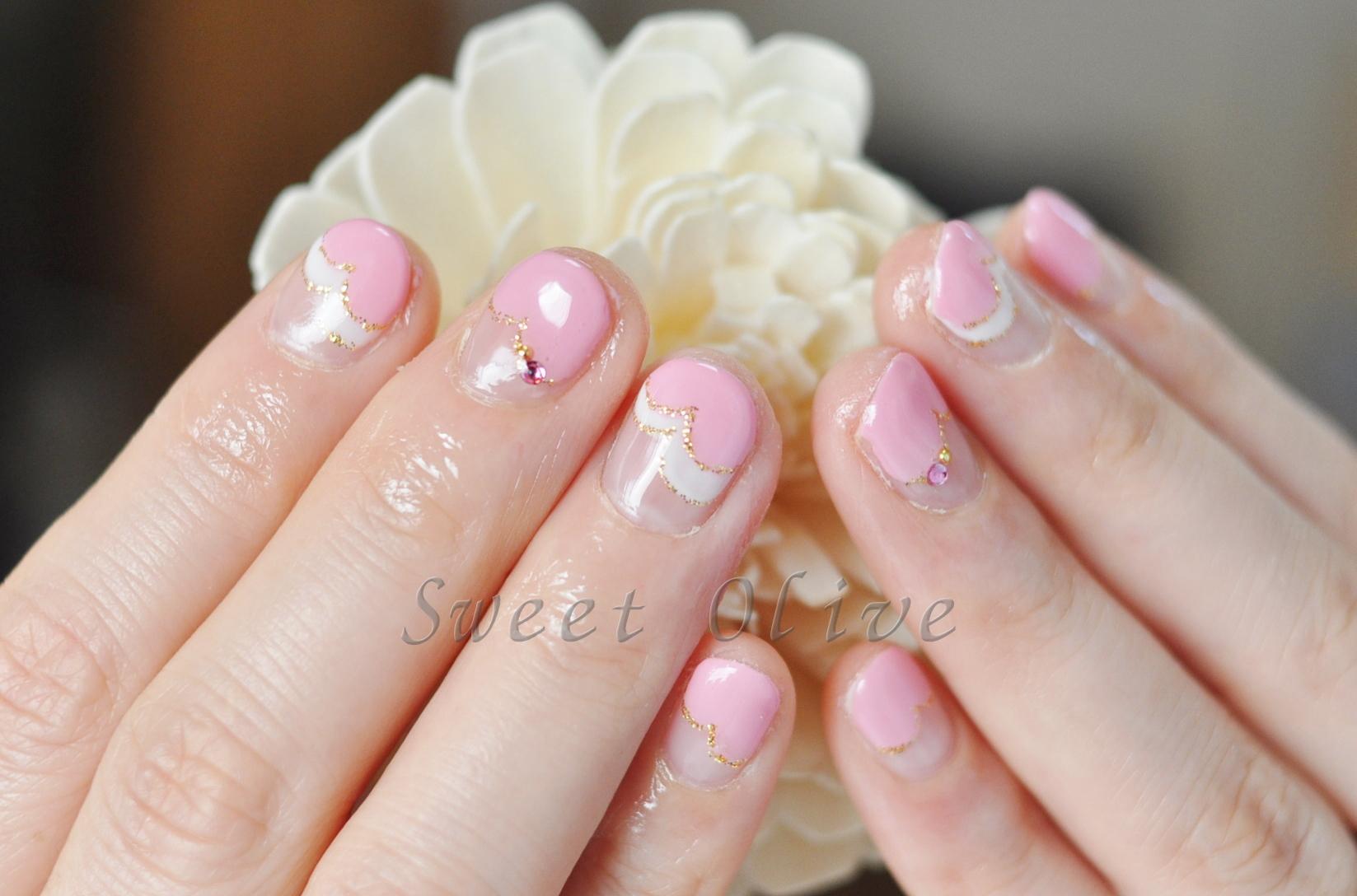 ダブルハートフレンチネイル,ピンク,ホワイト,可愛い,斜めフレンチネイル
