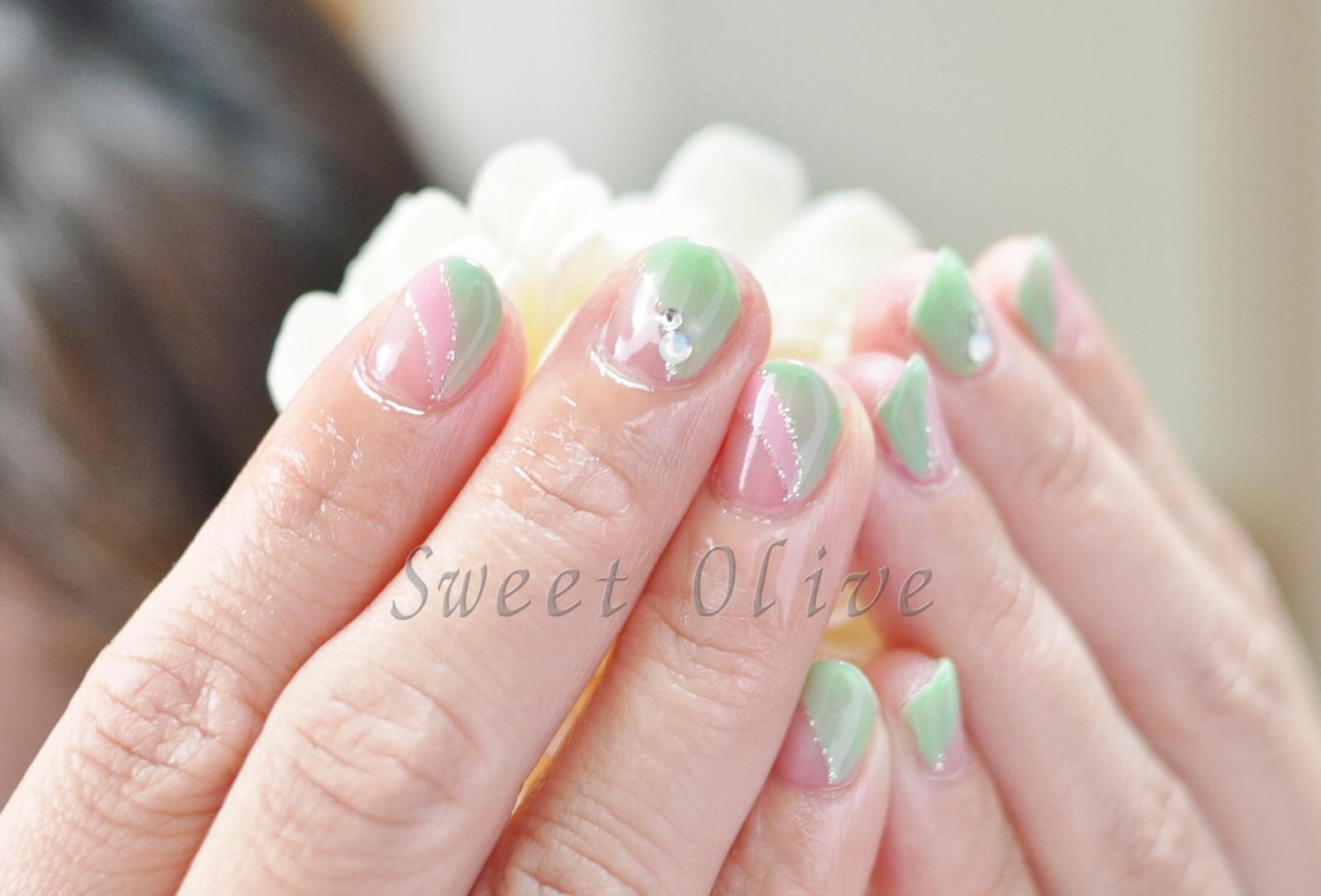 ダブルフレンチ,春カラー,グリーン,ピンク,春色,ジェルネイル
