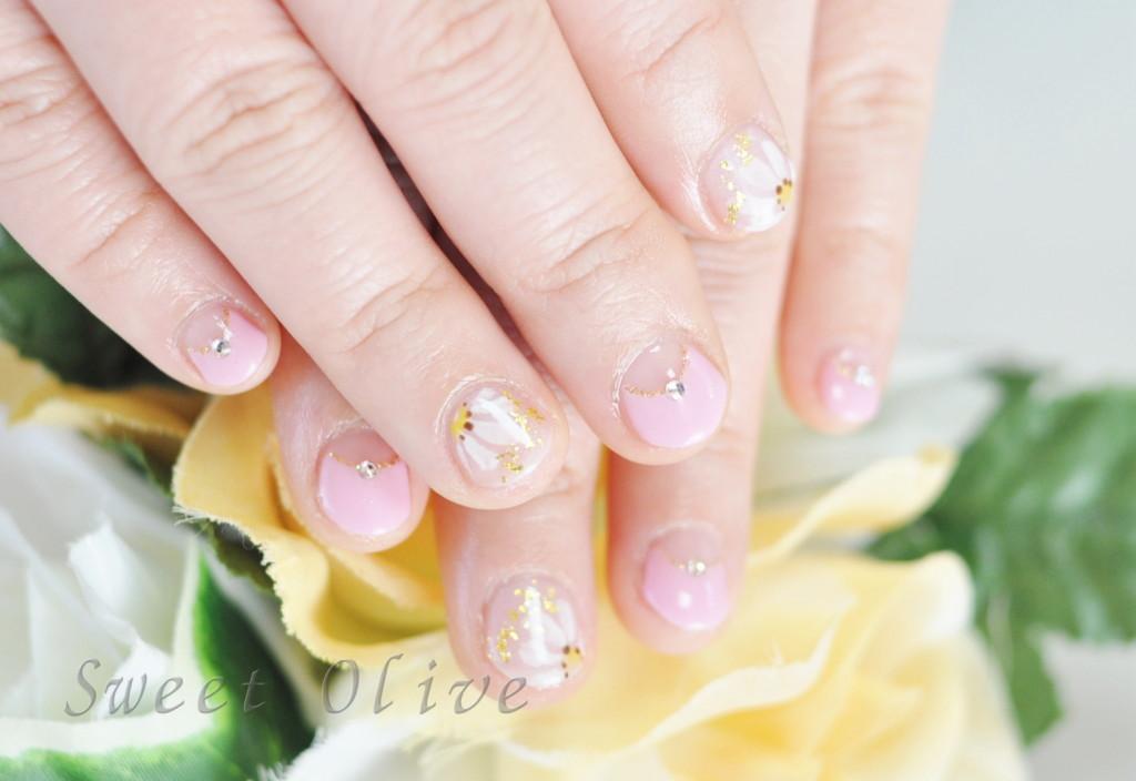 ピンク,ひな菊,マーガレット,お花,フラワーネイル,パステルカラー