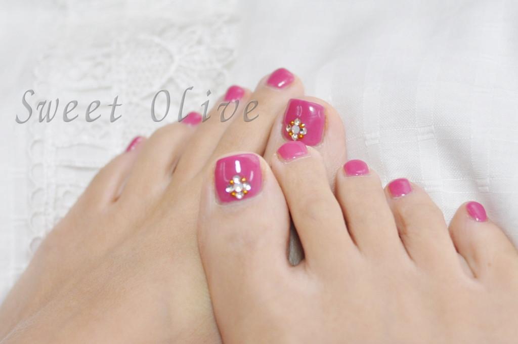 フットジェルネイル,ピンク,一色塗り,春デザイン