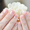 ピーチピンク,逆フレンチネイル,上品,きれい,チェリーピンク,春ネイル