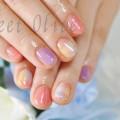 透明感,パステルカラー,チェック柄ネイル,ピンク,紫