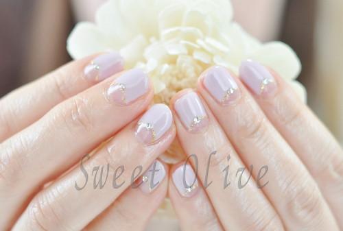 紫,パステルパープル,逆フレンチネイル,上品カラー,春