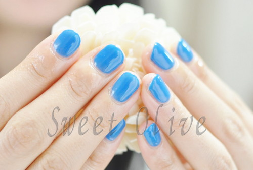 ブルー,青,サマー,シンプル,一色塗り,モデル,ジェルネイル