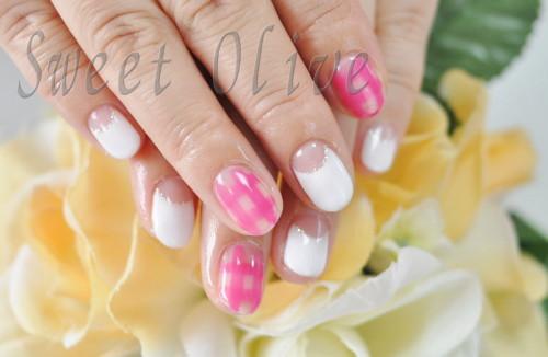 白フレンチ,ピンク,チェック柄,涼しげ,夏,ジェルネイル