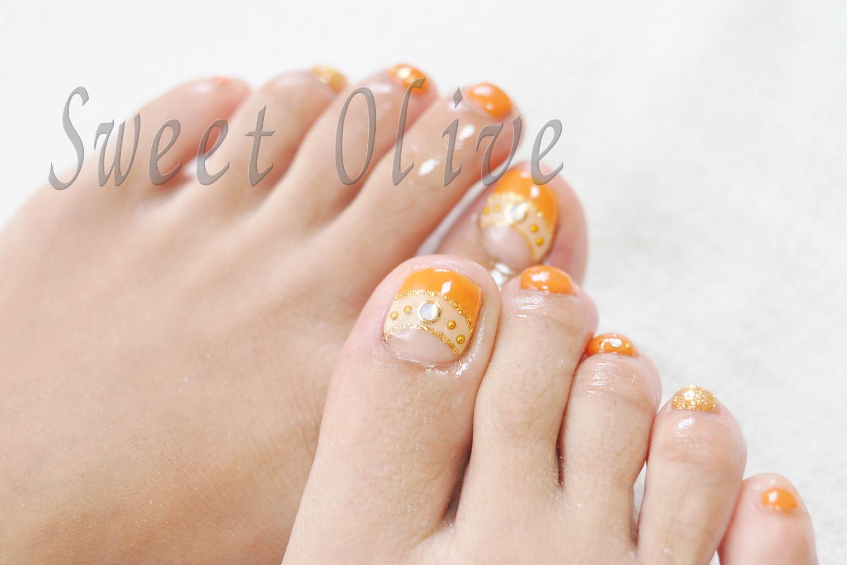 ダブルフレンチ,オレンジ,フットネイル,夏