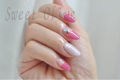 シェルネイル,貝殻,丸フレンチ,ピンク,紫