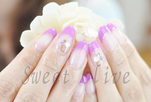 紫,フレンチネイル,シンプル,キレイ,ロングネイル
