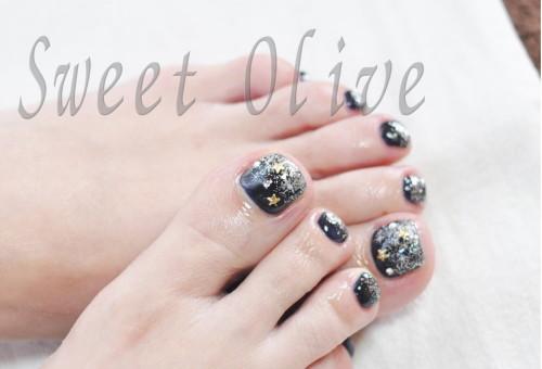 夜空のイメージ,フットジェルネイル,ネイビー,星,スター