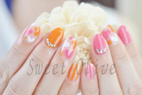 クリアネイル,透明感,ハートがいっぱい,オレンジ,ピンク,夏デザイン