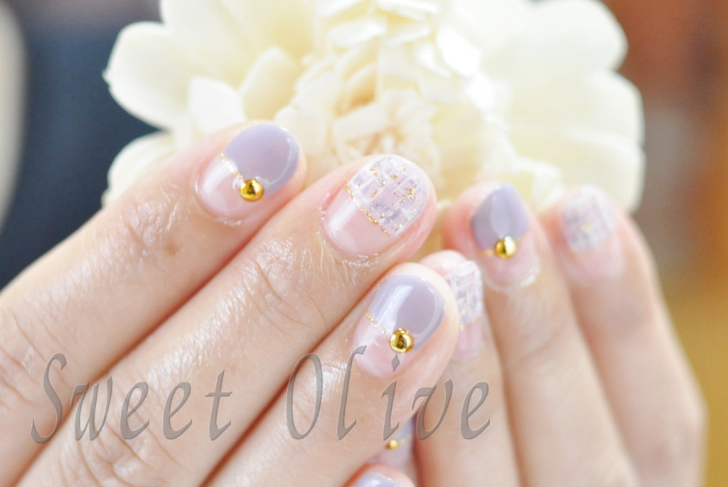 夏のツイード柄,ぱっつんフレンチ,紫