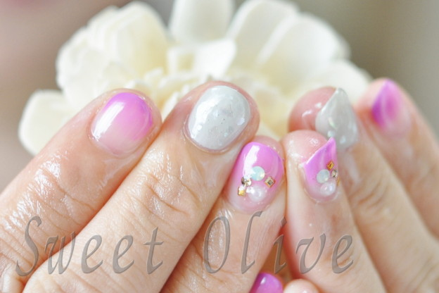 貝殻,シェル,ジェルネイル,紫,秋色