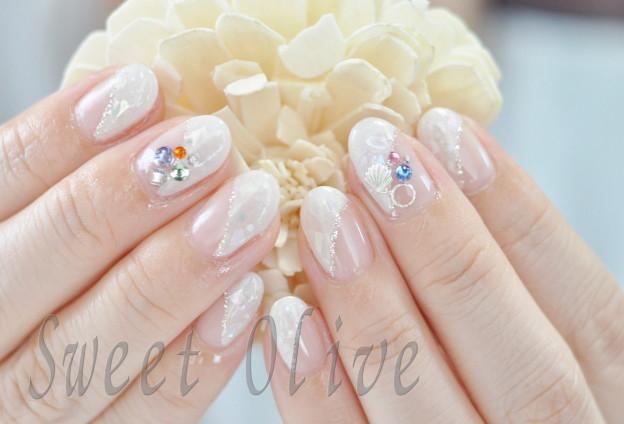 ホワイト,白フレンチ,斜めフレンチ,貝殻,クラッシュシェル
