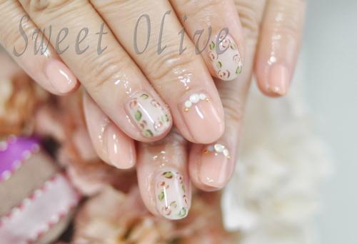 チェリーピンク,秋冬ネイル2014年,女子力,可愛い,ジェルネイル,花柄,フラワー柄,バラ