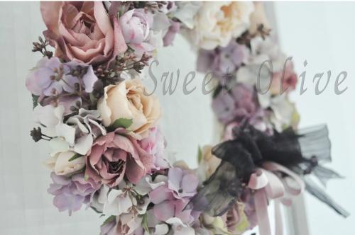 パープル系,紫大好き,自宅ネイルサロン,フラワーリース