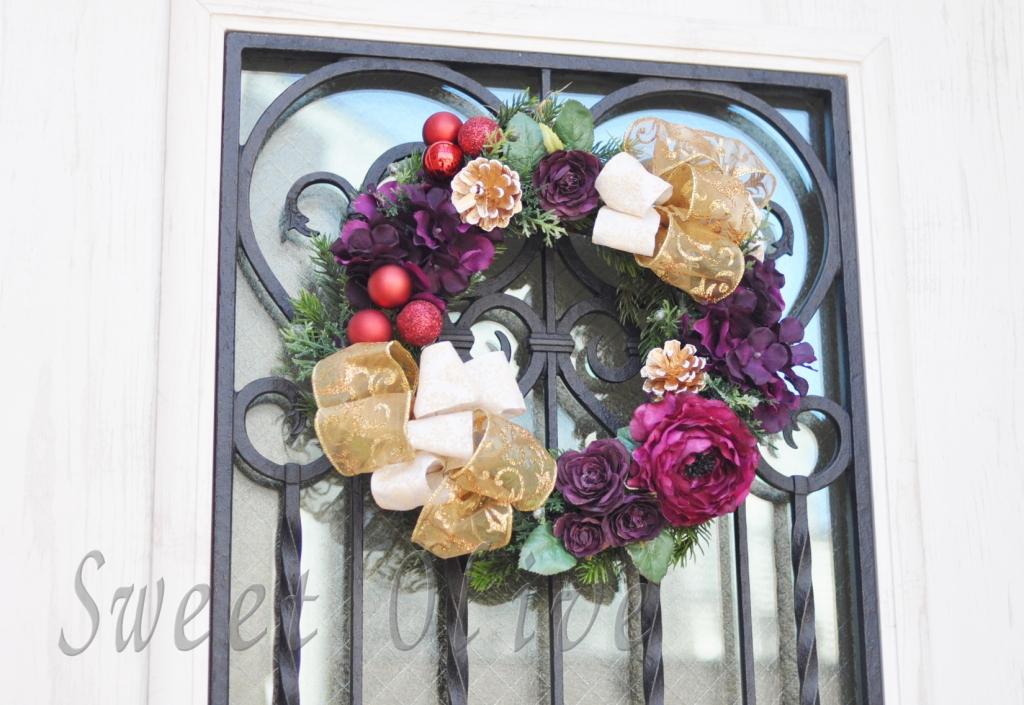 アイアン,玄関ドア,自宅ネイルサロン,クリスマスリース,飾りつけ,ゴールド,ボルドー,シック
