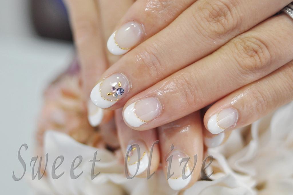 白フレンチネイル,美爪,きれい,ママ,ジェルネイル,入園式,入学式,ママネイル,2015年