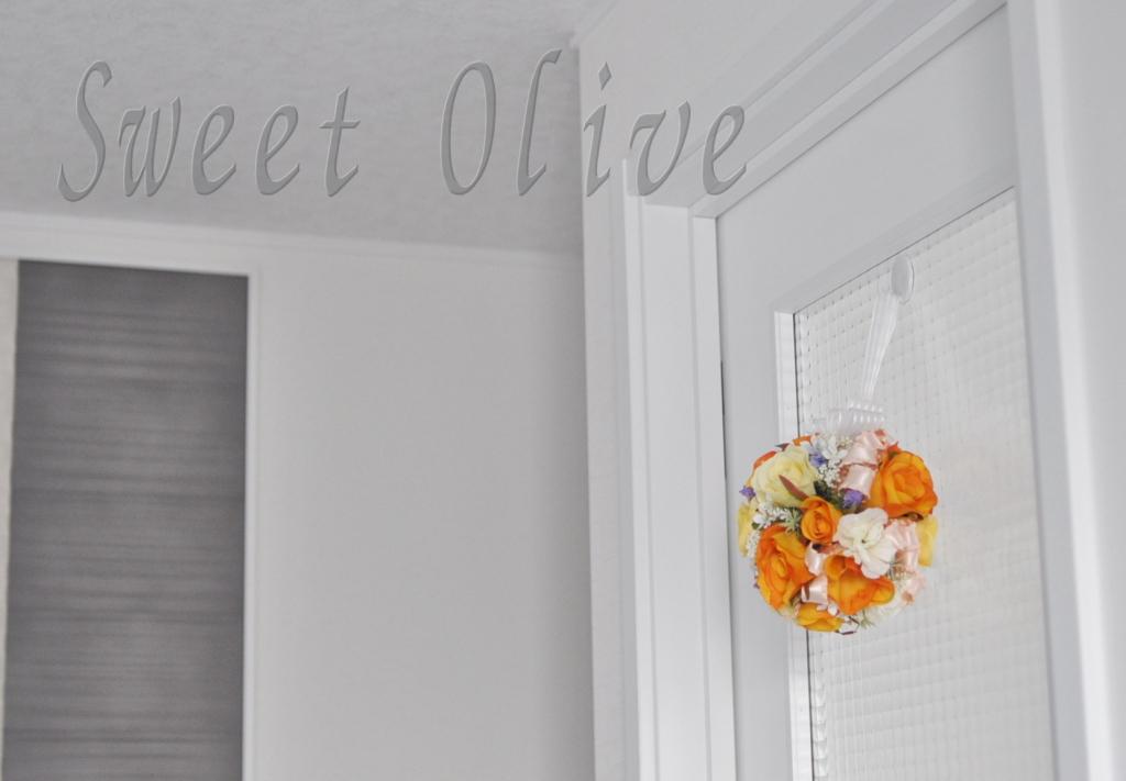 自宅ネイルサロン,写真,ドア,装飾,お花,フラワーボール
