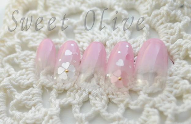 ハートホロ,さくら柄ネイル,ピンク,グラデーション,可愛い
