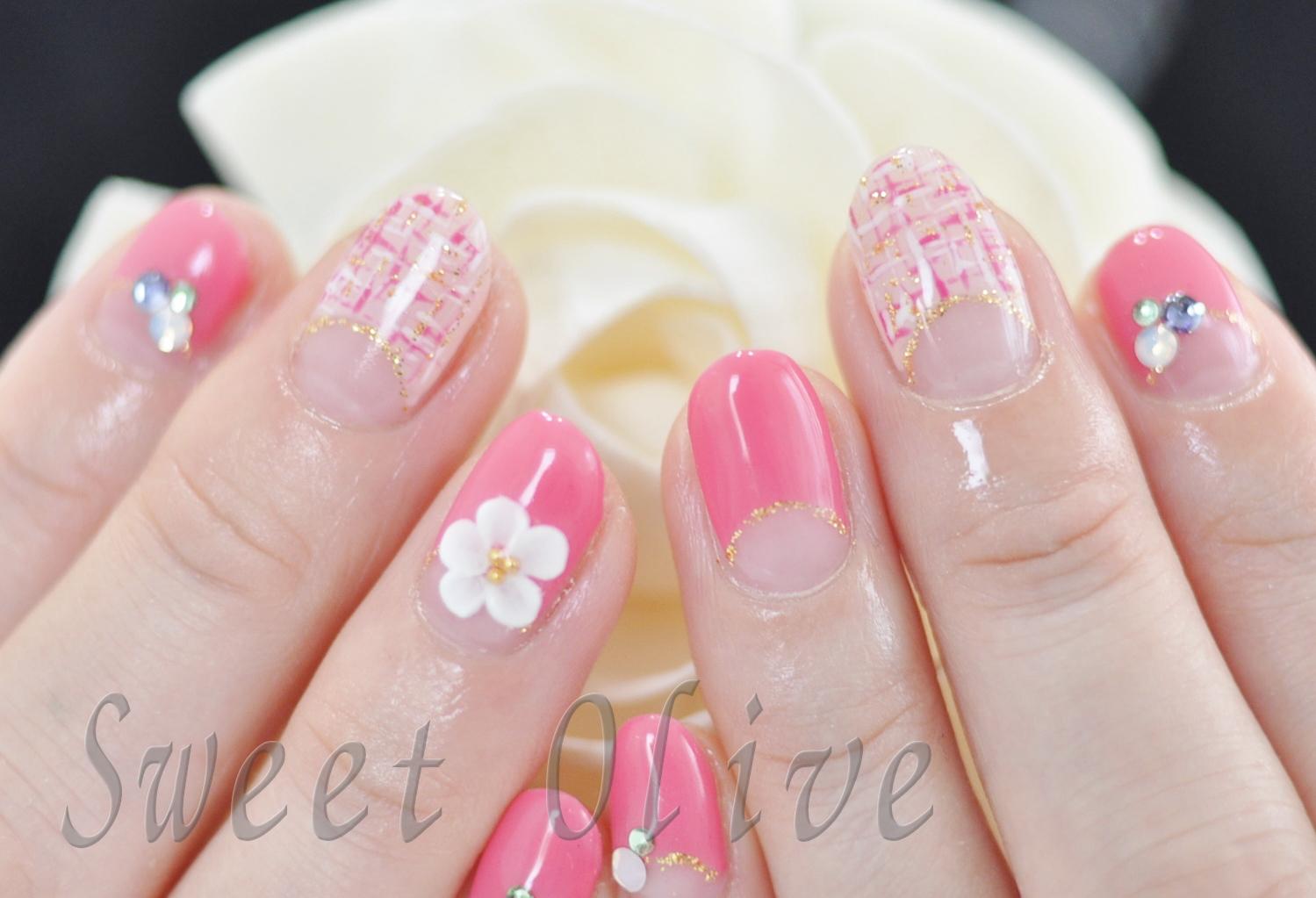 春,ツイード柄ネイル,ピンク,3d