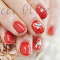 レッド,赤,短い爪,似合う,ジェルネイル,春デザイン,可愛い,赤,一色塗り,ターコイズストーン