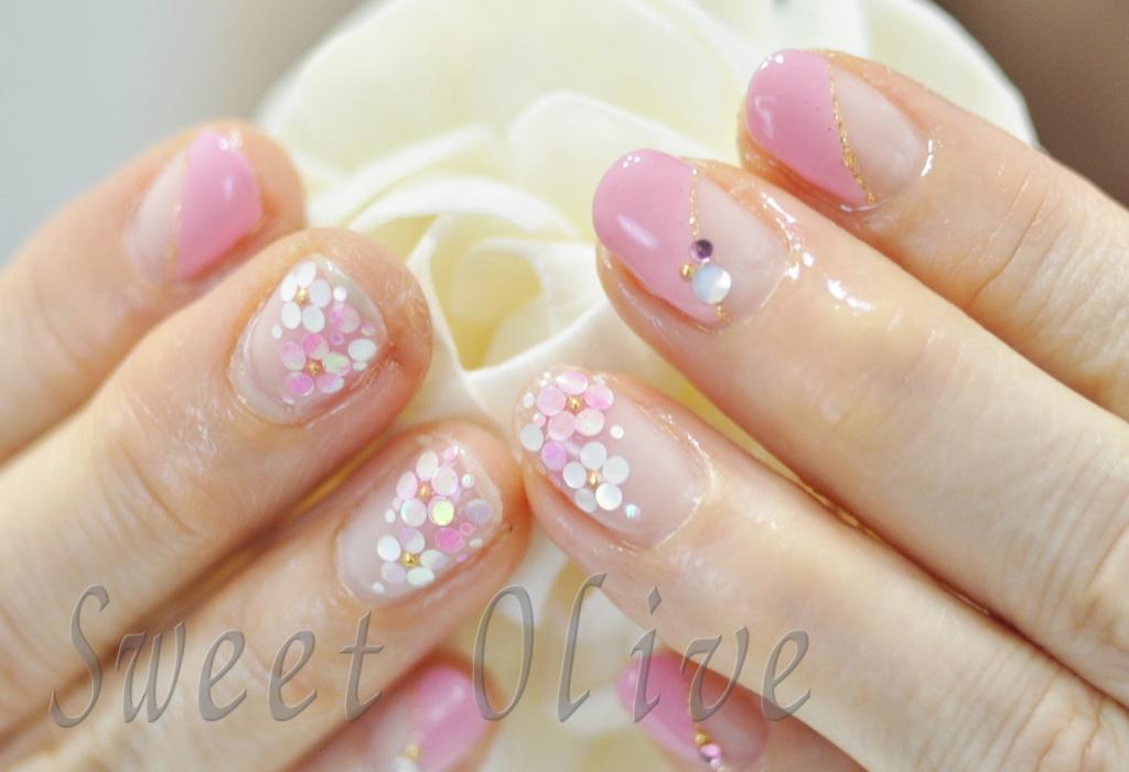 ホロ,パステルカラー,お花,フラワーネイル,春デザイン,2015年,ピンク