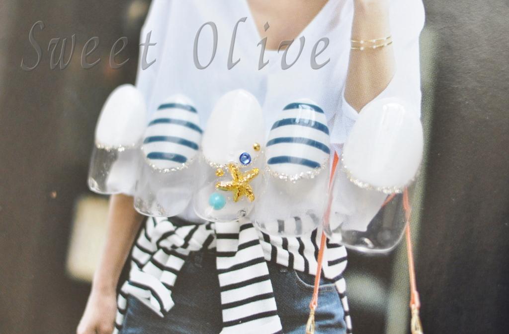 マリン,ボーダー,ジェルネイル,紺色,ネイビー,白,丸フレンチ,ヒトデ,スターフィッシュ,夏デザイン,2015年