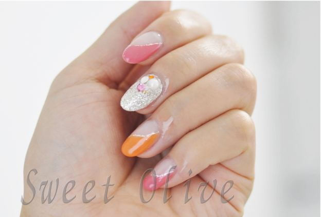 オレンジ,ピンク,斜めフレンチ,ビビッドカラー,夏デザイン,2015年,ジェルネイル