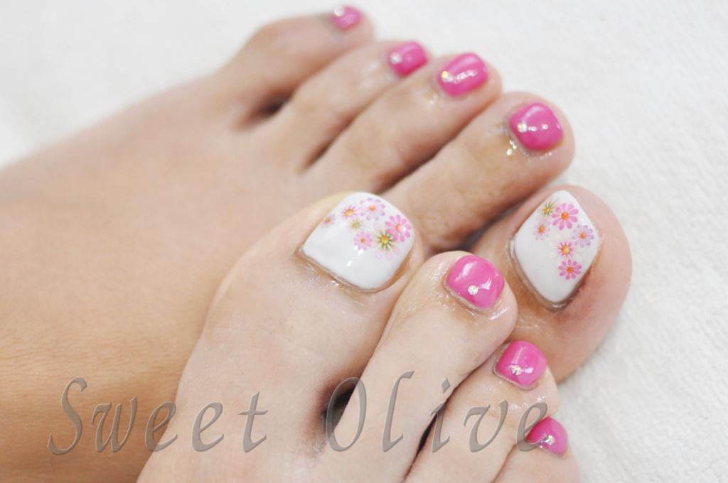 花柄,夏,デザイン,フットジェルネイル,2015年,ピンク,可愛い