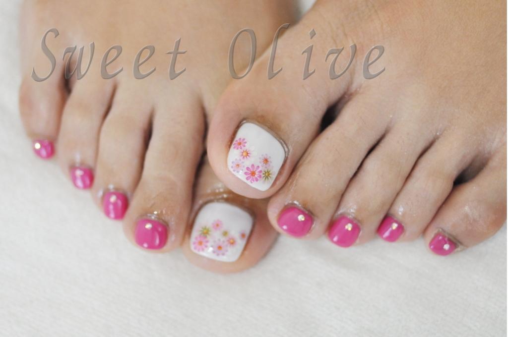 フラワー柄,花柄,シール,ふとジェルネイル,ピンク,花畑