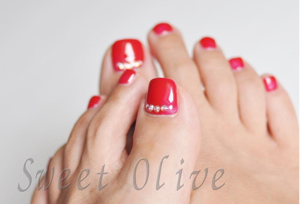 鮮やか,赤,レッド,フットジェルネイル,夏デザイン、2015年