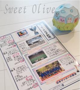 サッカーの歴史新聞,夏休み自由研究,サッカーボール組立