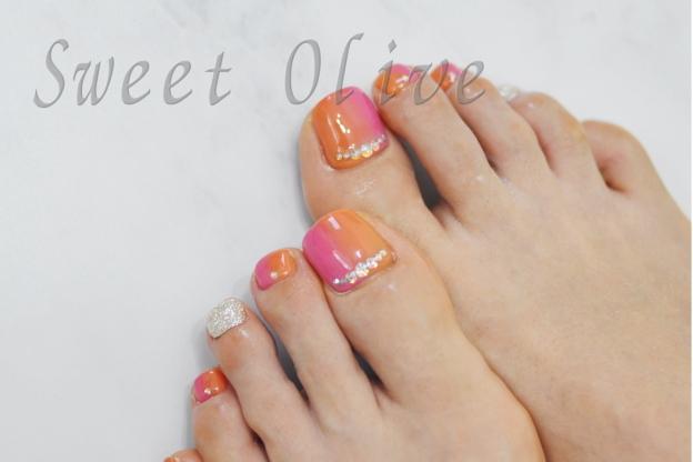 オレンジ,ピンク,縦グラデーション,オーロラストーン,シルバー,大人デザイン