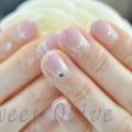 ハートのネックレス風ネイル,くすみ系ピンク,秋冬ネイルデザイン,2015年,シルバーラメ