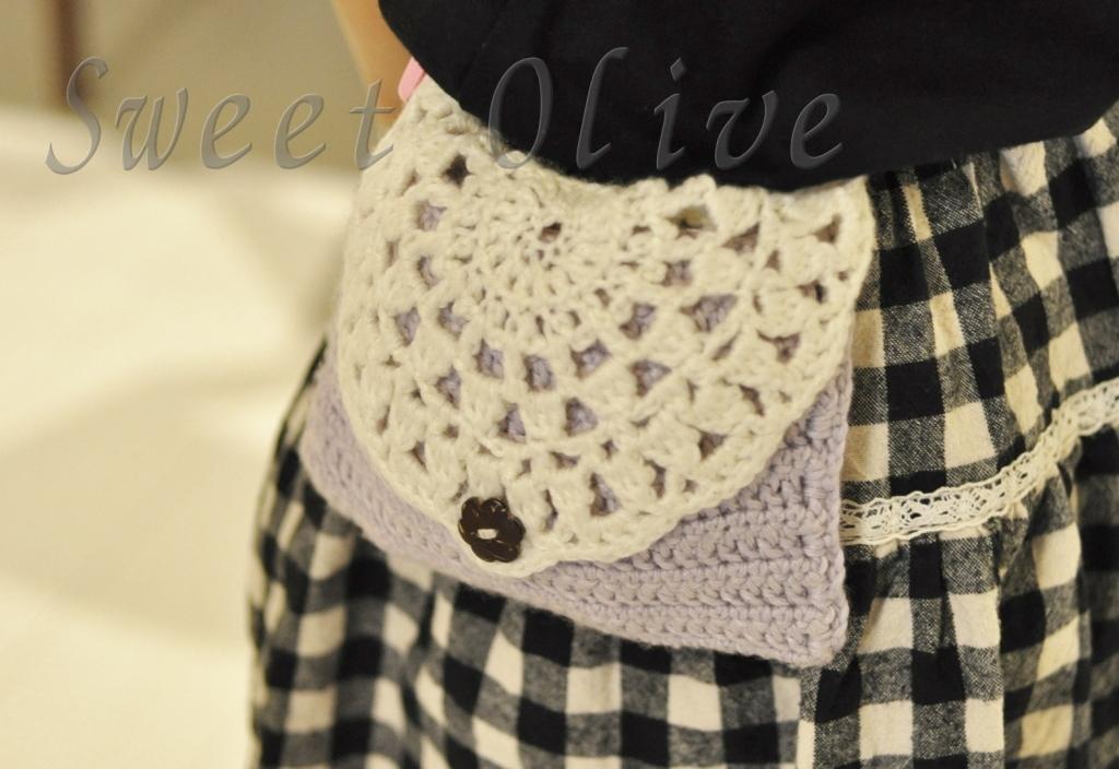 移動ポケット,手編み,毛糸,可愛い,レース編み