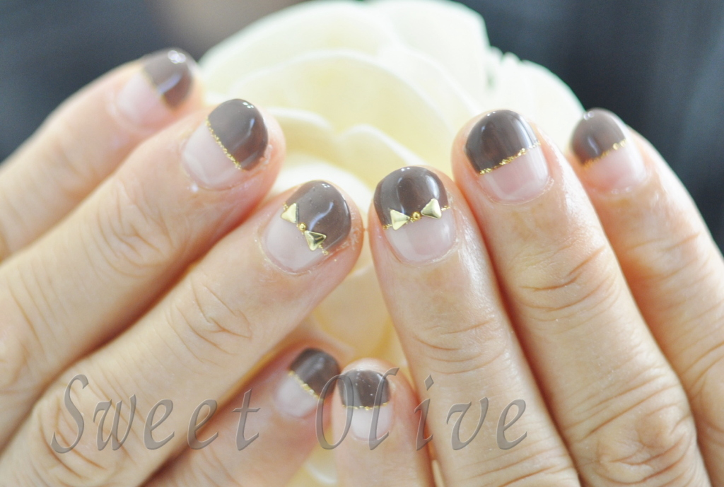 チョコレート色,2016年,バレンタインネイル,まっすぐフレンチ,ぱっつんフレンチ,りぼん