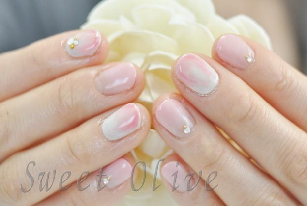 桜,さくら色,マーブル,タイダイ柄,春ネイル,ピンク,アイボリー,赤ちゃんママ