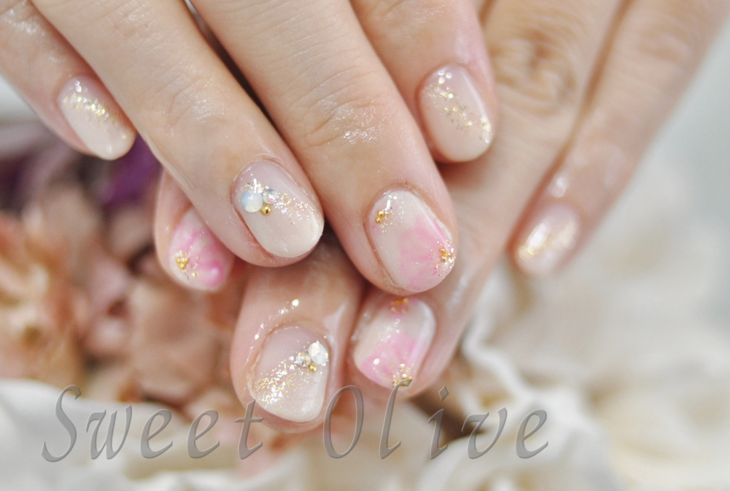 ピンク,花柄,さくら,サクラ,桜,春ネイル,入学式ママ