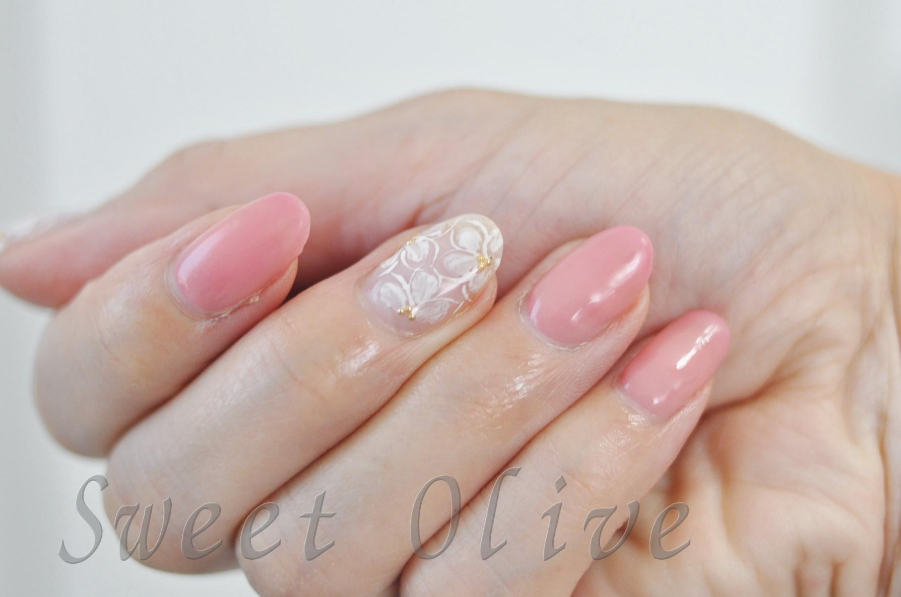 手描きレース柄,涼しげ,クリア透明ベース,フラワー柄,花柄,透明感、ピンク,可愛い