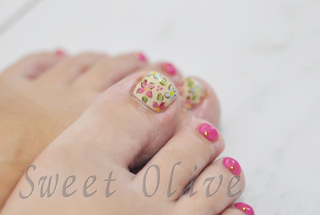レトロな花柄,フットジェルネイル,夏デザイン,2016年,可愛い,ピンク